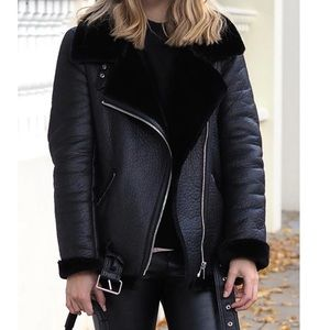 Black leather fuzzy jacket